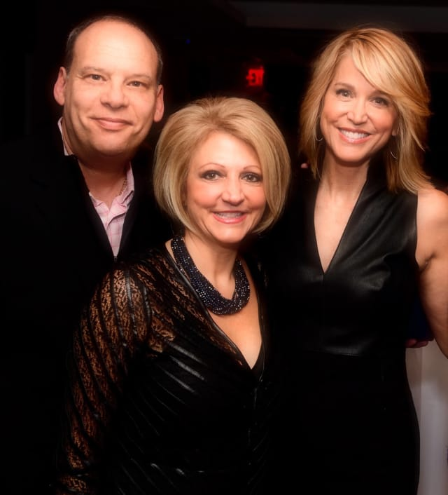 "Yorktown Heights resident Scott Weinberger with his wife Kathryn and Paula Zahn at an event celebrating the 200th episode of ""On the Case with Paula Zahn."""