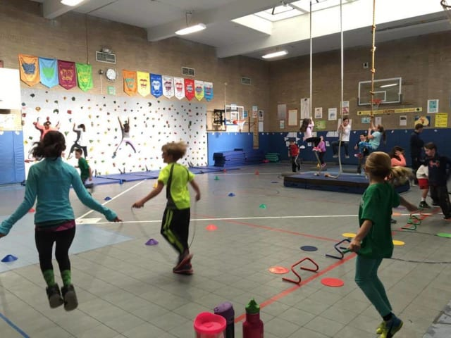 Fourth-grade students at Prospect Hill Elementary get some morning exercise.