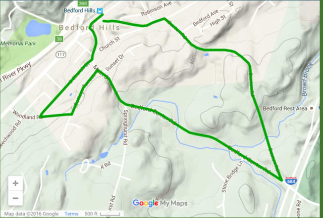 """This is the course of the Bedford Hills Neighborhood Association's """"Run for the Hills"""" 5K."""