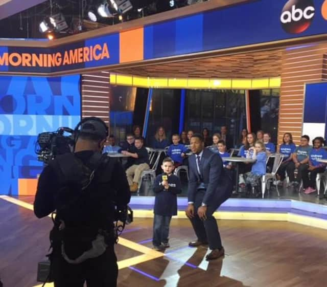 Nicholas DeVincentis kicks off the Great Kindness Challenge with Michael Strahan on Good Morning America.