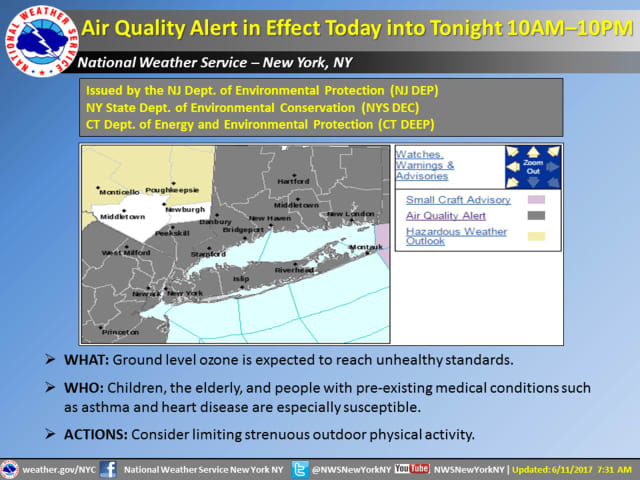 An Air Quality Alert is in effect until 10 p.m. Sunday.