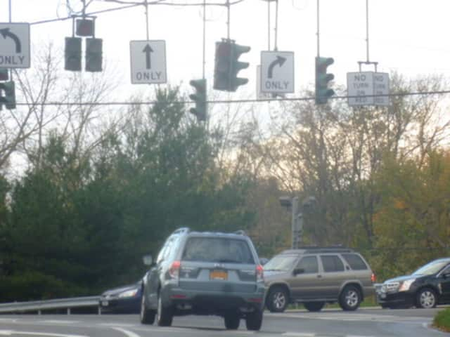 The roadway view from Ashford Avenue near American Legion Drive in Ardsley, where one lane of American Legion Drive will be closed beginning Tuesday morning.