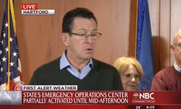 Gov. Dannel Malloy is asking that businesses across the state follow the government's example and keep employees home.